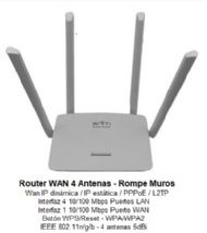 ROUTER KANJI KJN-ROUT4A01:4 ANT+300MB-4 PORT+10/100+1WAN